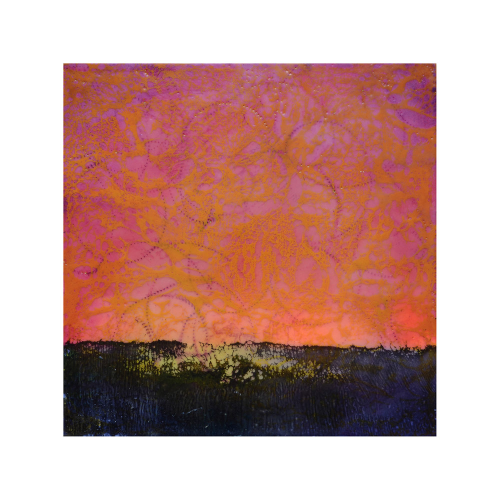 Red Sky   12 x 12  Encaustic on Panel  $300