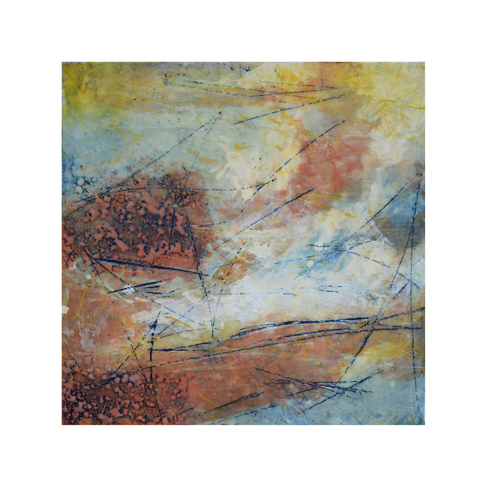 Rugged Terrain   12 x 12  Encaustic on Panel