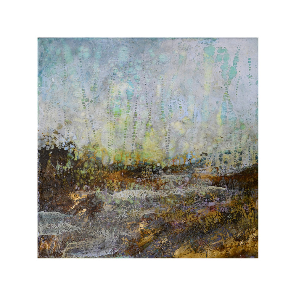 Sensing the Stillness   12 x 12  Encaustic on Panel
