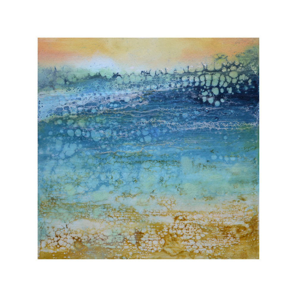Tranquil Shore 1   12 x 12  Encaustic on Panel  $300