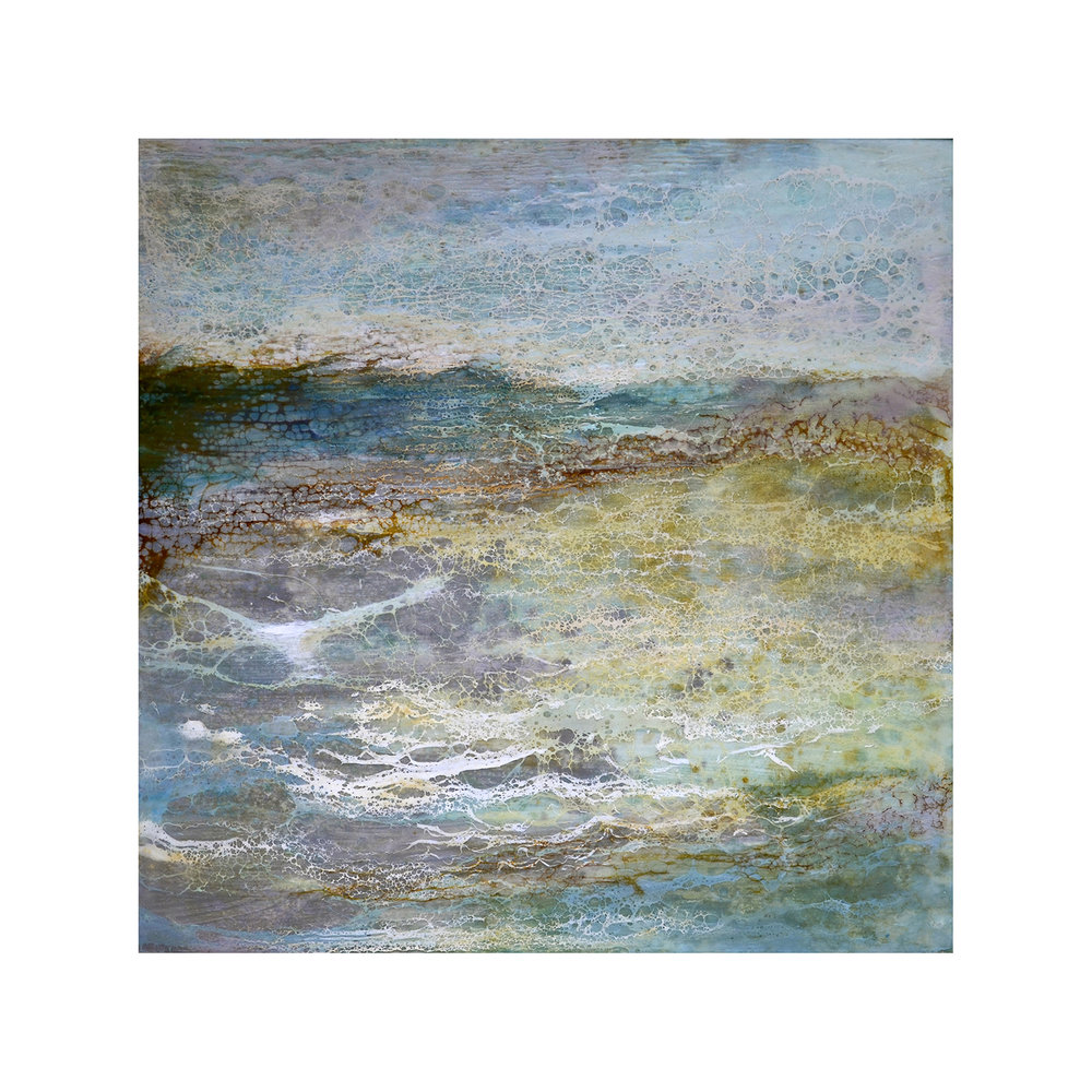 Tranquil Shore 4   12 x 12  Encaustic on Panel  $300