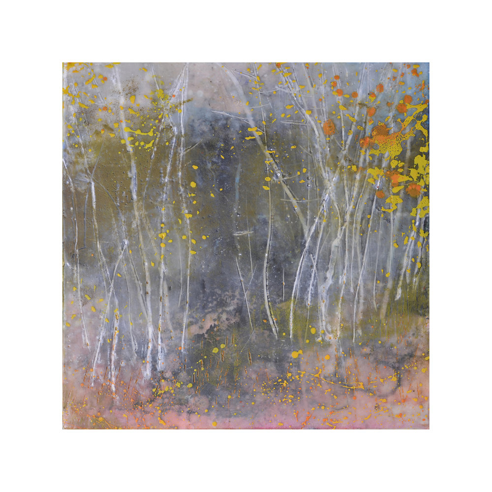 Wooded Grove   12 x 12  Encaustic on Panel  $300