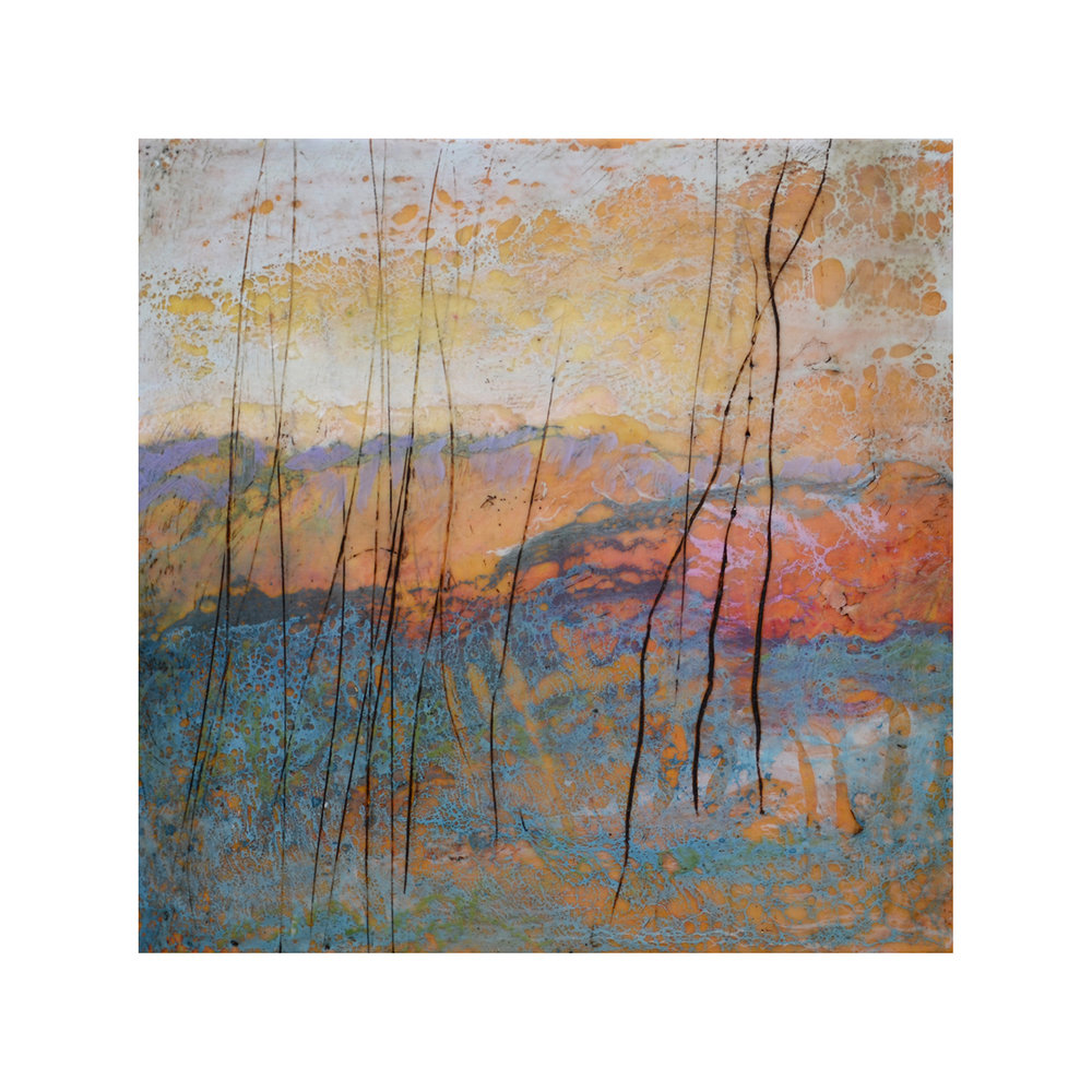 Wooded Hills 1 - SOLD   12 x 12  Encaustic on Panel