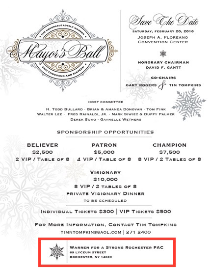 Mayor Warren's 2016 Mayor's Ball Invitation with Warren For A Strong Rocheser PAC listed.