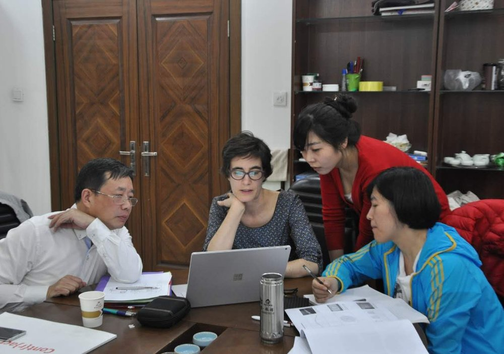 From left: Tian Kai (Director), Wendy Gers, Liu Mingyue (Administrator) & Xu Rui (Curator, Archaeology), Henan Museum. Photo: Wang Wenxi.