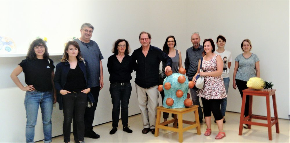 Céramiques contemporaines en France et ailleurs. Ecole d'art de Beauvais, France. 10 July, with Hervé Le Nost (3rd from left) and Patrick Loughran (5th from left).