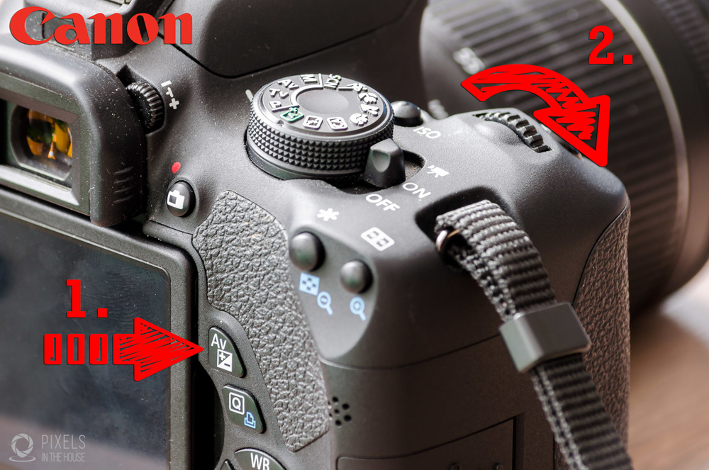 """Chez Canon, le réglage de l'exposition se fait de la même manière : en maintenant le bouton """"1"""" montré ci-dessus, tournez la molette """"2"""" afin d'obtenir une image plus claire."""