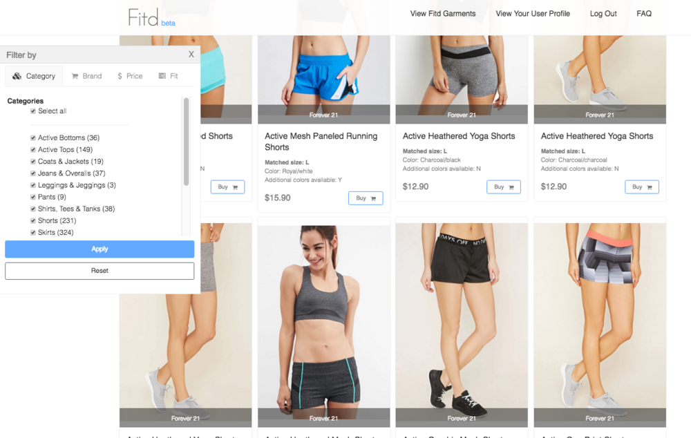 The platform then aggregates all of the clothing items that match your measurements.