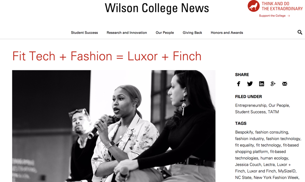 Wilson College of Textile Feature - Read more on my career journey!