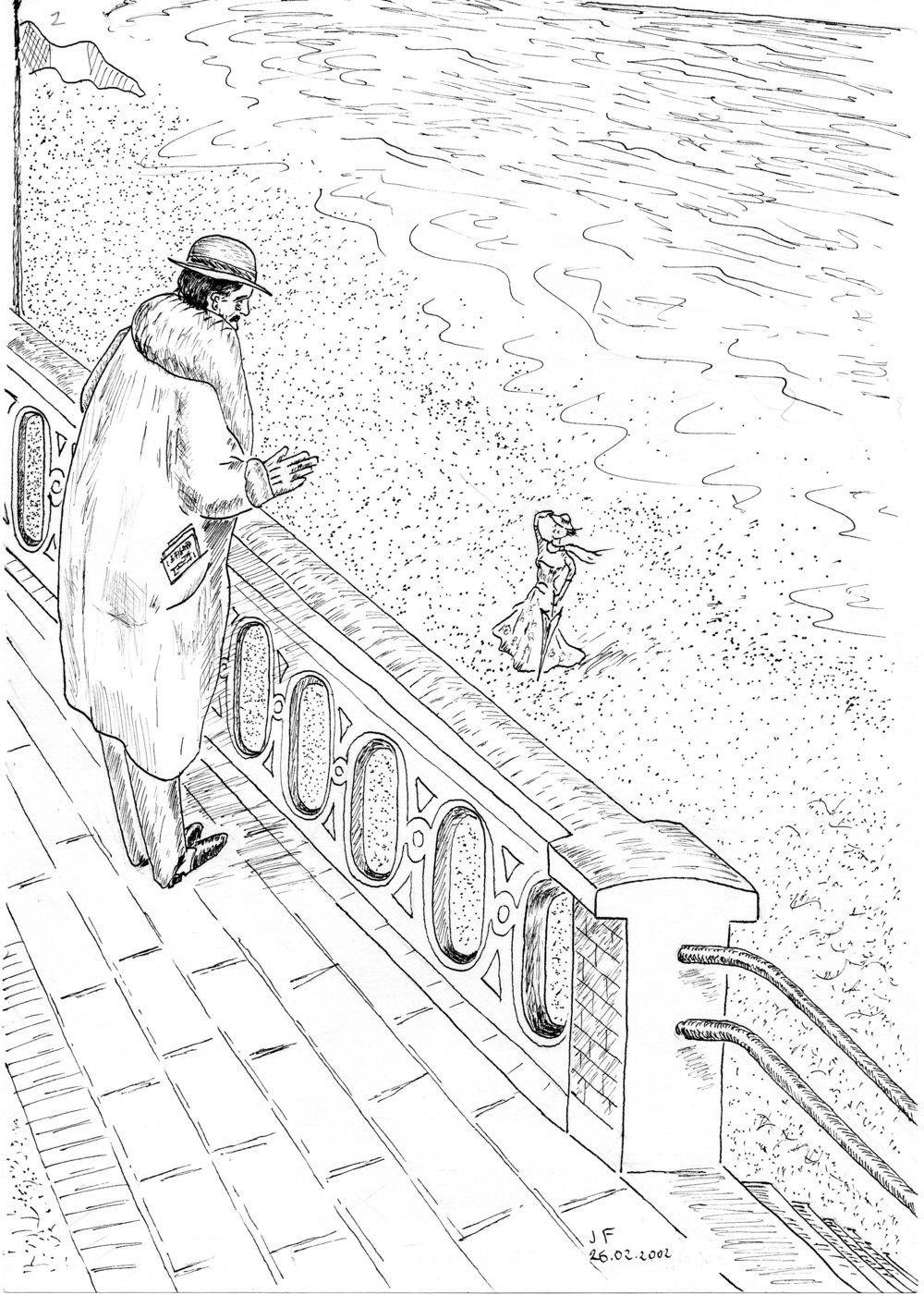 2-Marcel fait un signe amical à une jeune  fille sur la plage.jpg