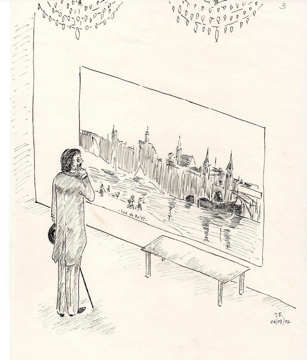 3-Marcel contemplant le tableau ''Vue de Delft'' avec le ''petit pan de mur jaune''..jpg