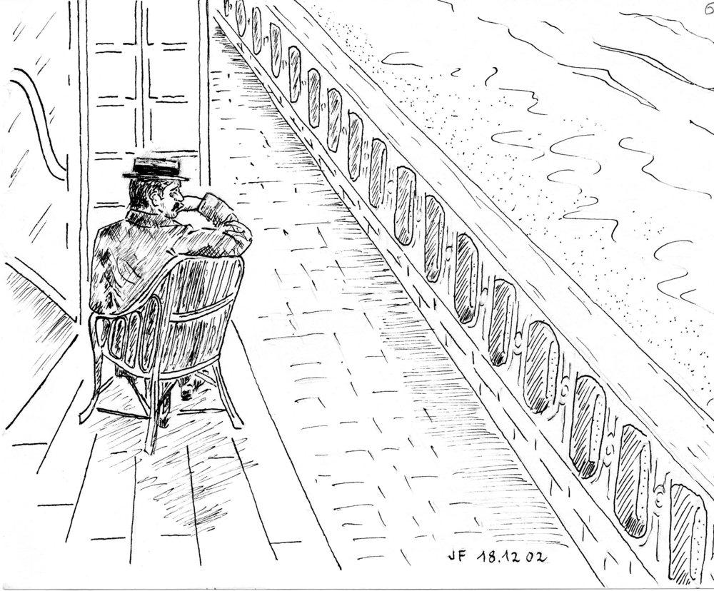 6-Marcel sur son fauteuil en osier sur le seuil du Grand Hôtel à Cabourg côté mer.jpg