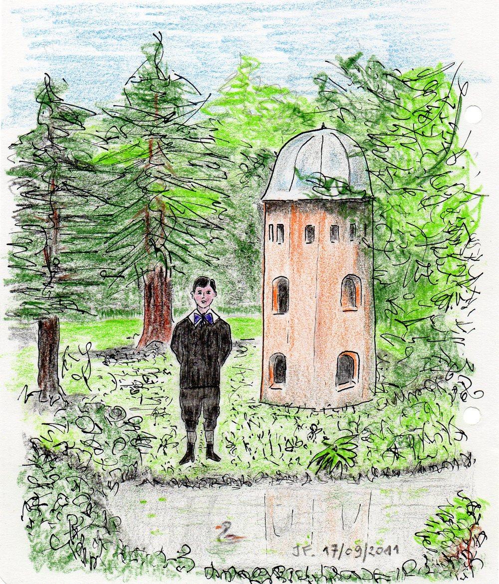 17-Le jeune Marcel dans le parc de son grand oncle ''le Pré Catelan'' à Illiers Combray.jpg