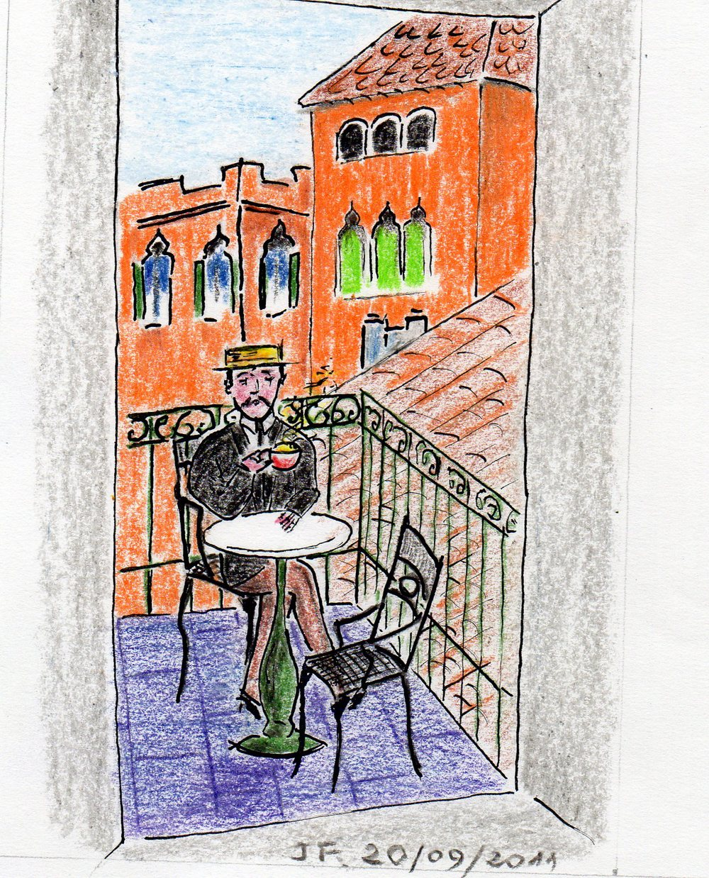 19-Marcel à Venise sur le balcon de sa chambre d'hôtel.jpg