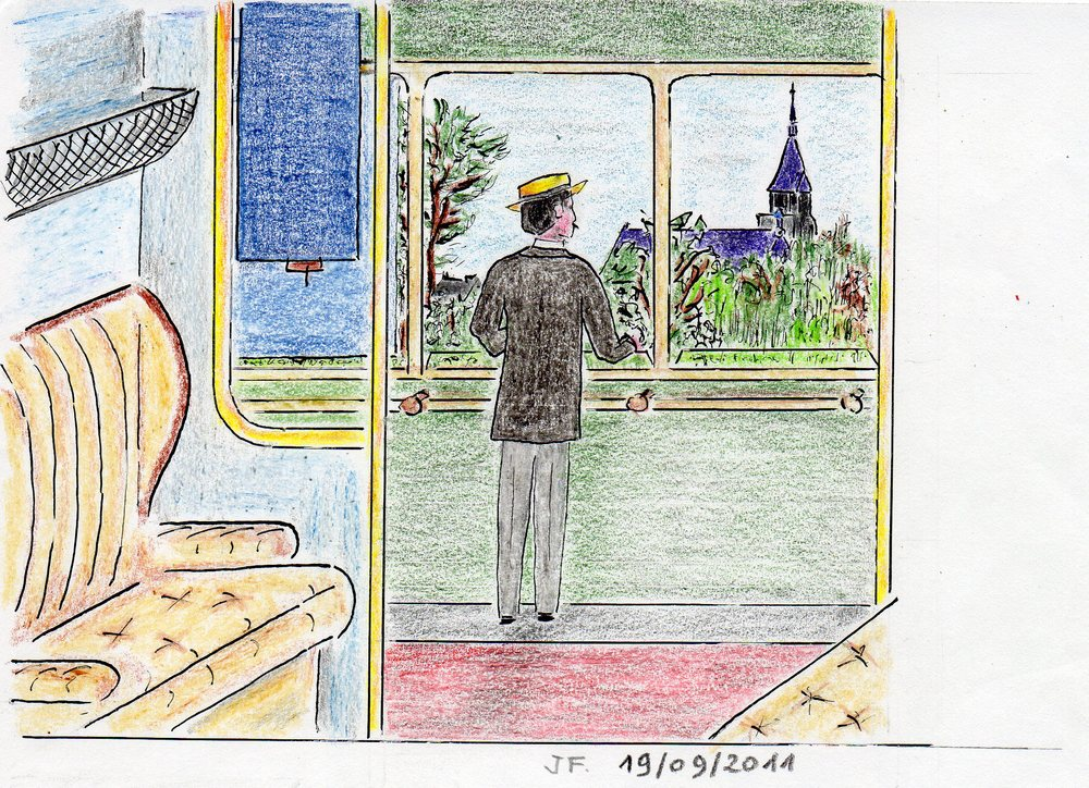 18-Marcel regarde le clocher d'Illiers,du petit train.jpg