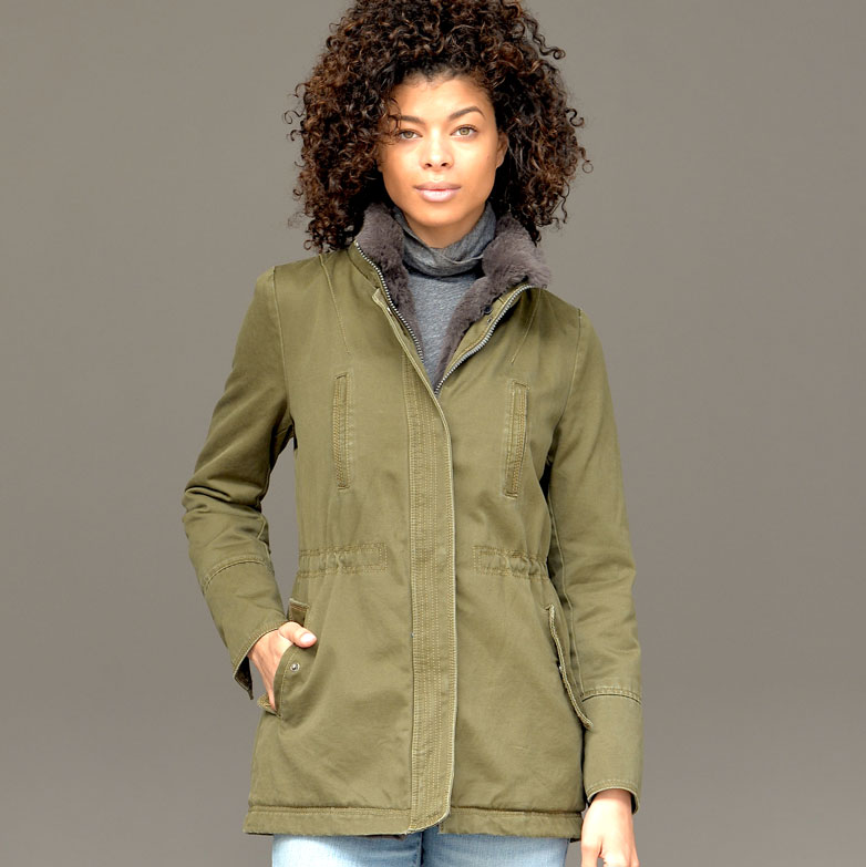 OLV/TPE. STONEWASHED PARKA WITH REMOVABLE FUR TRIM