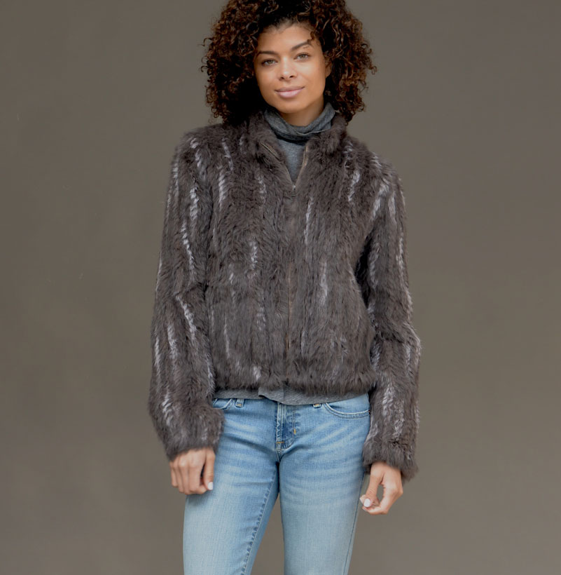 TPE KNITTED FUR BOMBER WITH RANDOM SNOWTOP