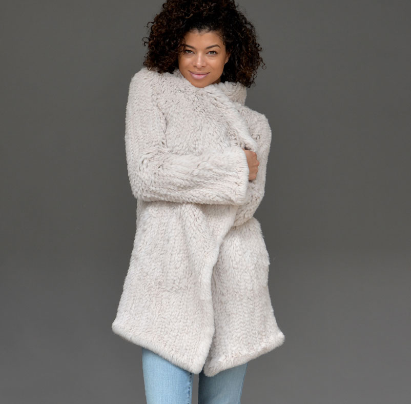 BEIGE FLAIR SLEEVE KNITTED FUR COAT
