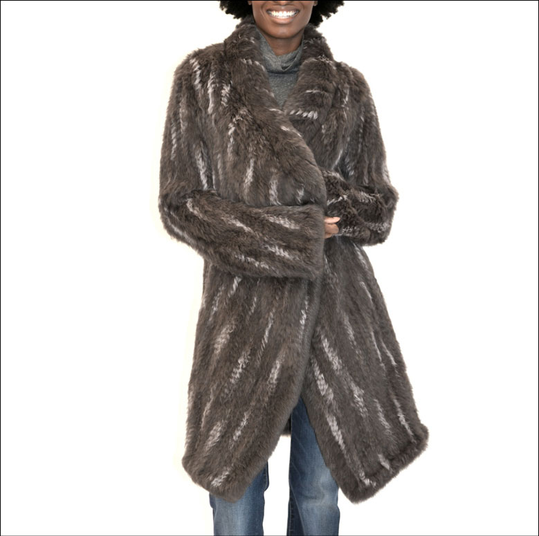 TPE RANDOM SNOWTOP FLAIR SLEEVE FUR COAT