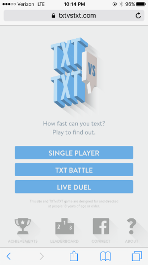 First, users are given the option to face off against a human or computerized opponent.
