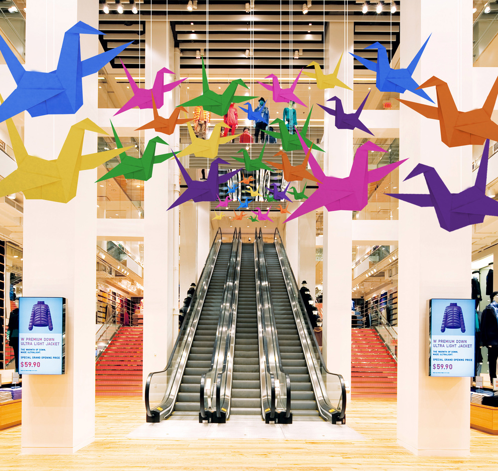 Uniqlo stores would be decorated with cranes made out of Uniqlo's fabrics, reinforcing the Thoughtfold concept as consumers shop.