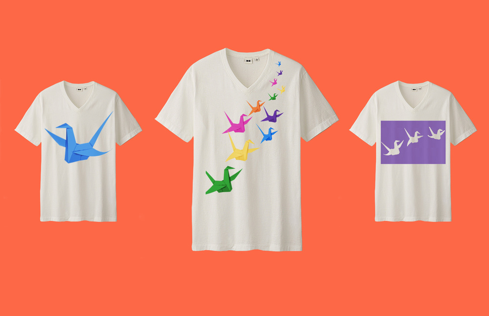 "Uniqlo runs a graphic t shirt line called ""UT,"" where the brand often collaborates with artists and designers. As part of this campaign, there would be a Thoughtfold UT collection that features colorful paper cranes on the brand's clothing."