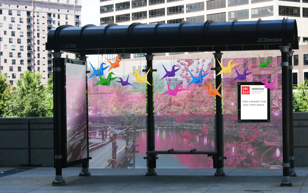 Thoughtfold is about making the ordinary beautiful. Places that may otherwise be considered mundane are refreshed with paper cranes and serene imagery. This bus stop, which now looks like a peaceful Japanese garden, turns commuting into a more tolerable experience.