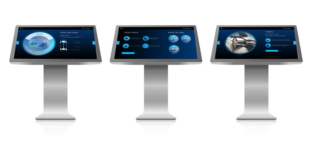 Across landscape touchtable devices, the experience was similar but more comprehensive. Here, users could view more extensive information on the three different EV categories, plus browse specific vehicle models in detail.
