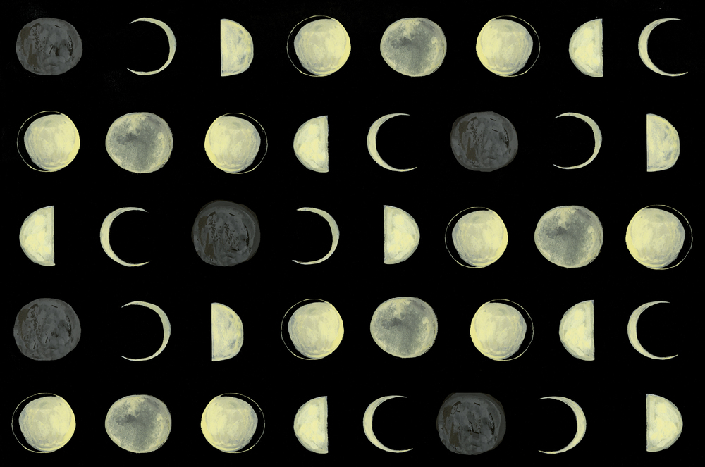 End Papers for The Moon Inside, Groundwood Books