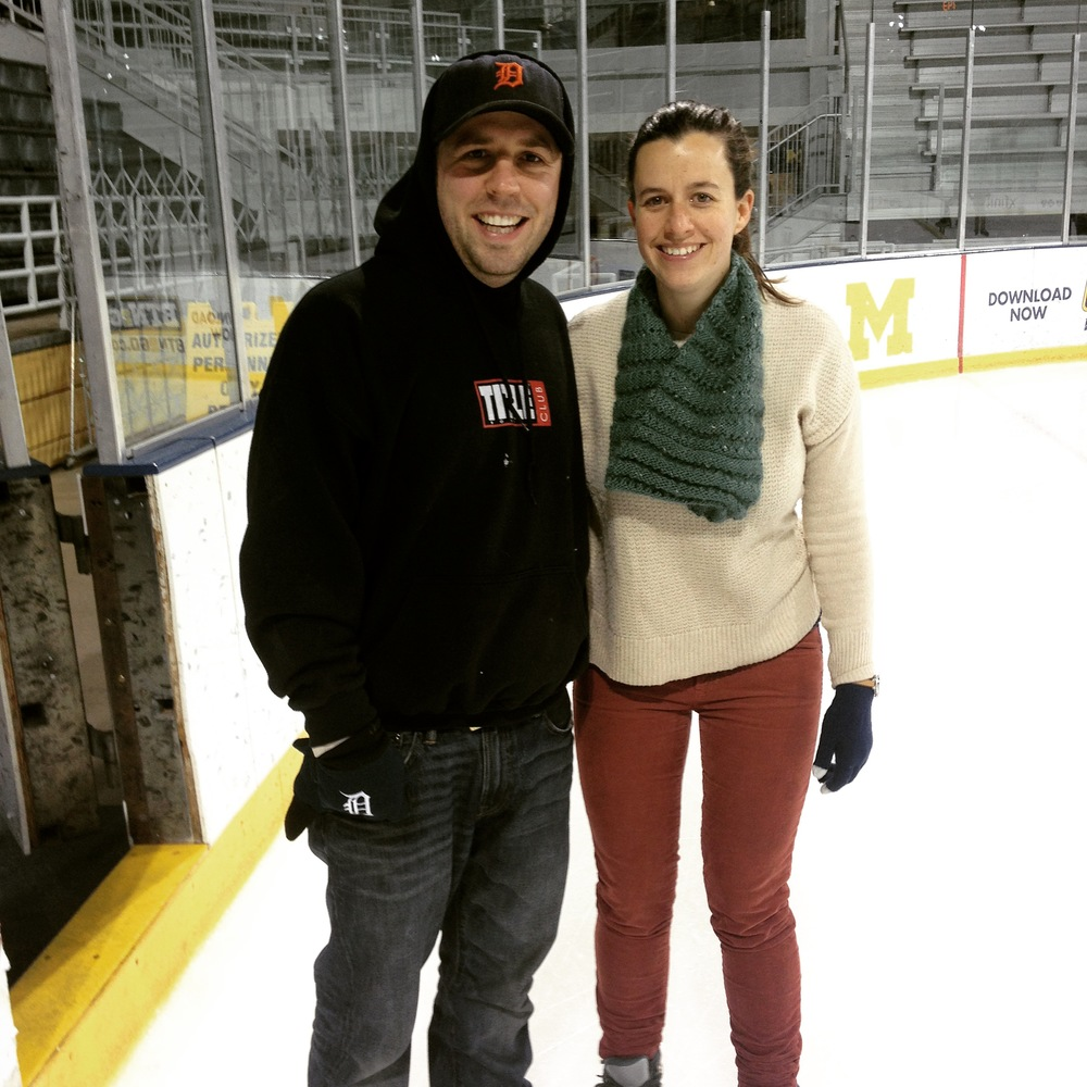 Sarah and her husband Robert (yes, they met because of camp!) try their hand at ice skating at Yost Ice Arena on the University of Michigan camps