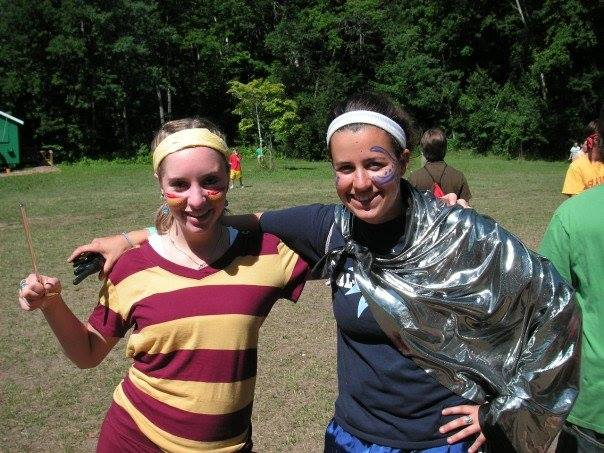 "Kate, aka ""KTF"" and me during Harry Potter Day when we were counselors at AGQ.  And yes, we were also capable of making phone calls home!!"