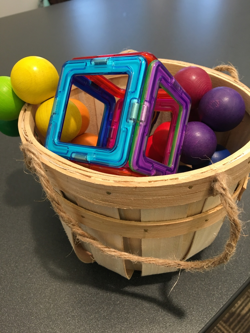 One of Karen's fidget toy baskets!  Photo compliments Karen Christopherson.