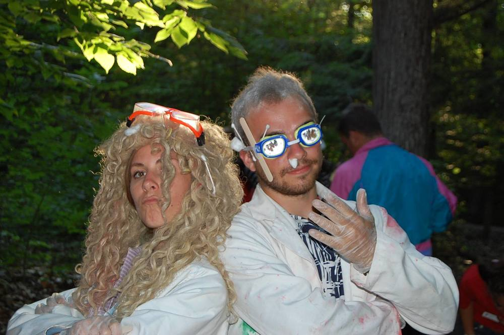 Two of my favorite camp leaders: Cam and Linda, the mad scientist roommates (AKA Hannah Deschaine and David Shapiro.  Not their real hair.)