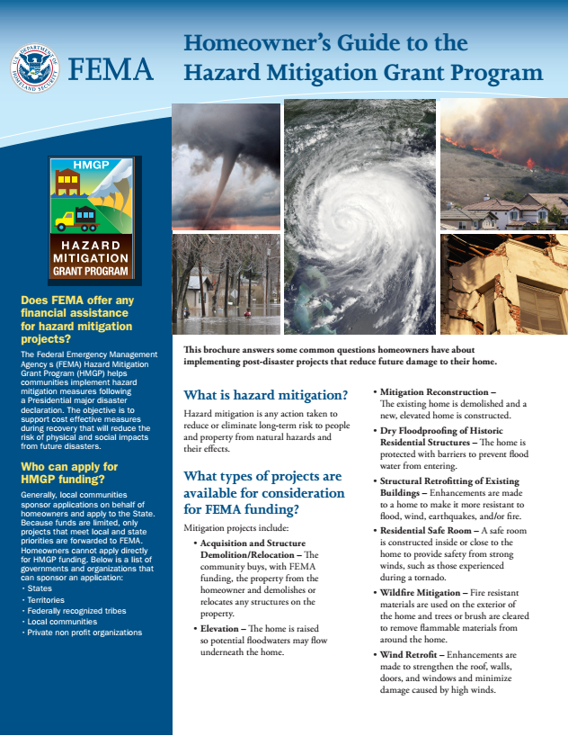 Homeowner's Guide to Hazard Mitigation Grant Program