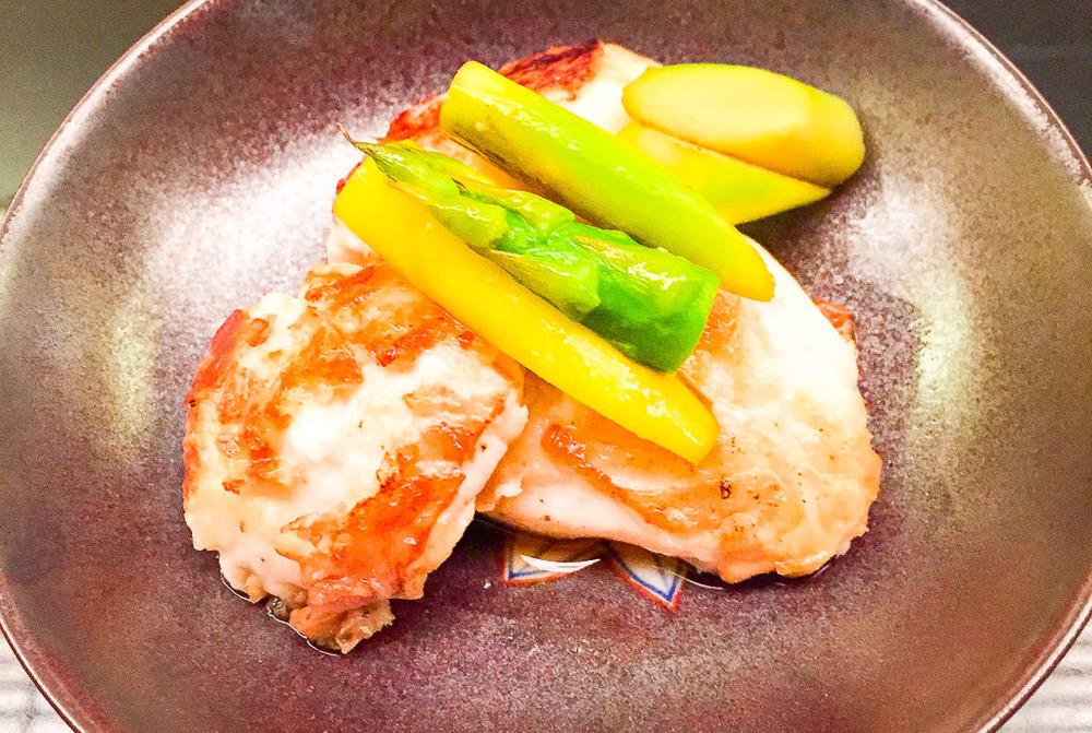 6th Course: White Fish + Asparagus, 6/10