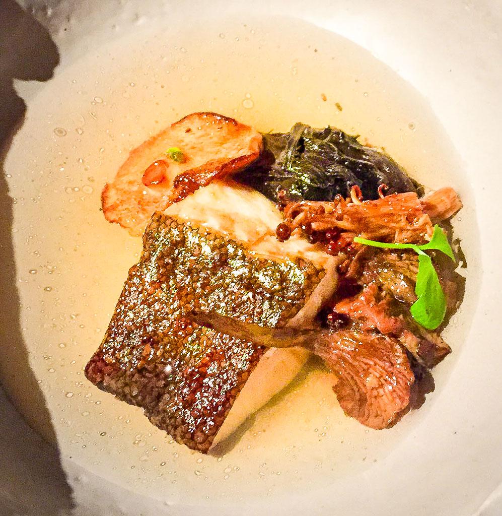 4th Course: Black Cod + Mushroom + Pine, 8/10