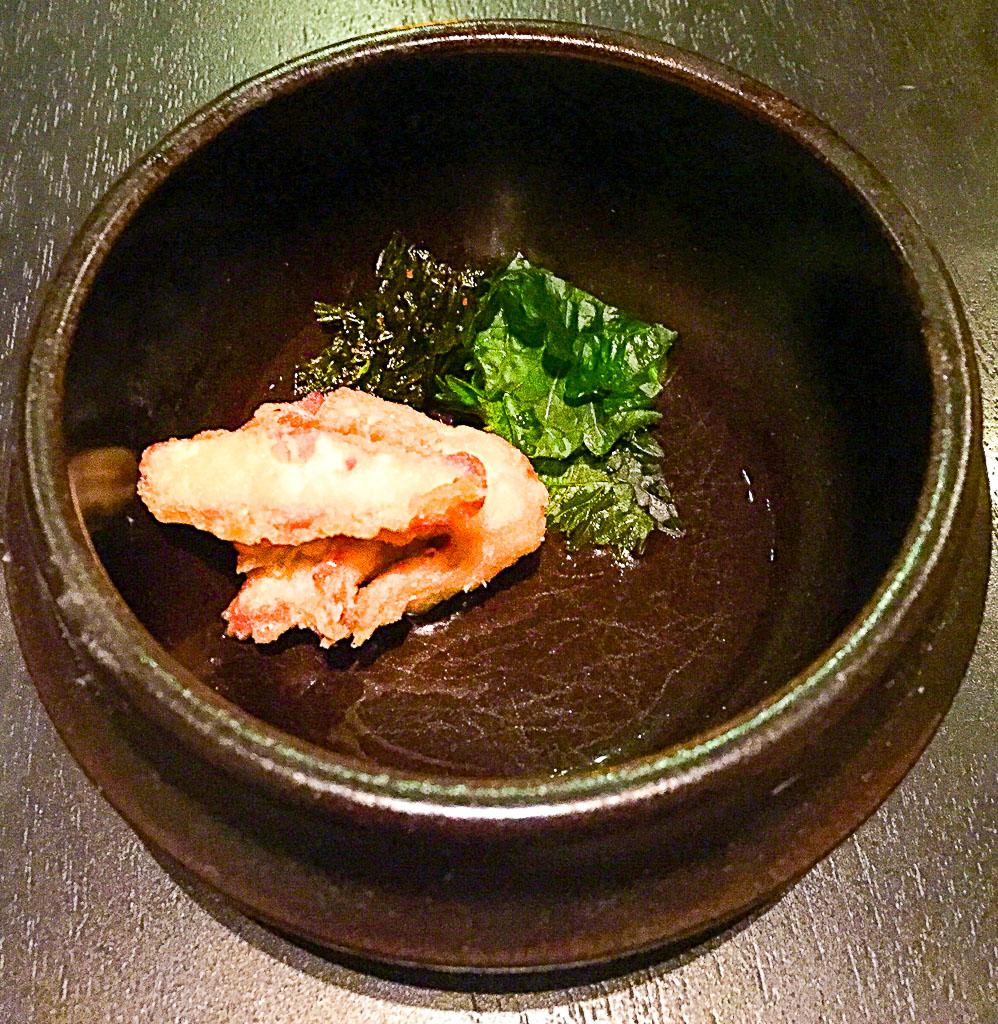 9th Course: Abalone + Maitake Mushroom + Shiso, 8/10