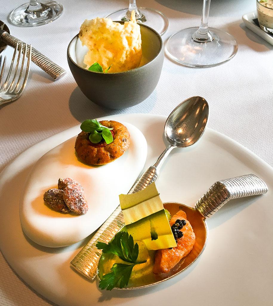 Course 1A: Almond + Black Olive Cake + Scottish Salmon + Zucchini, 9/10