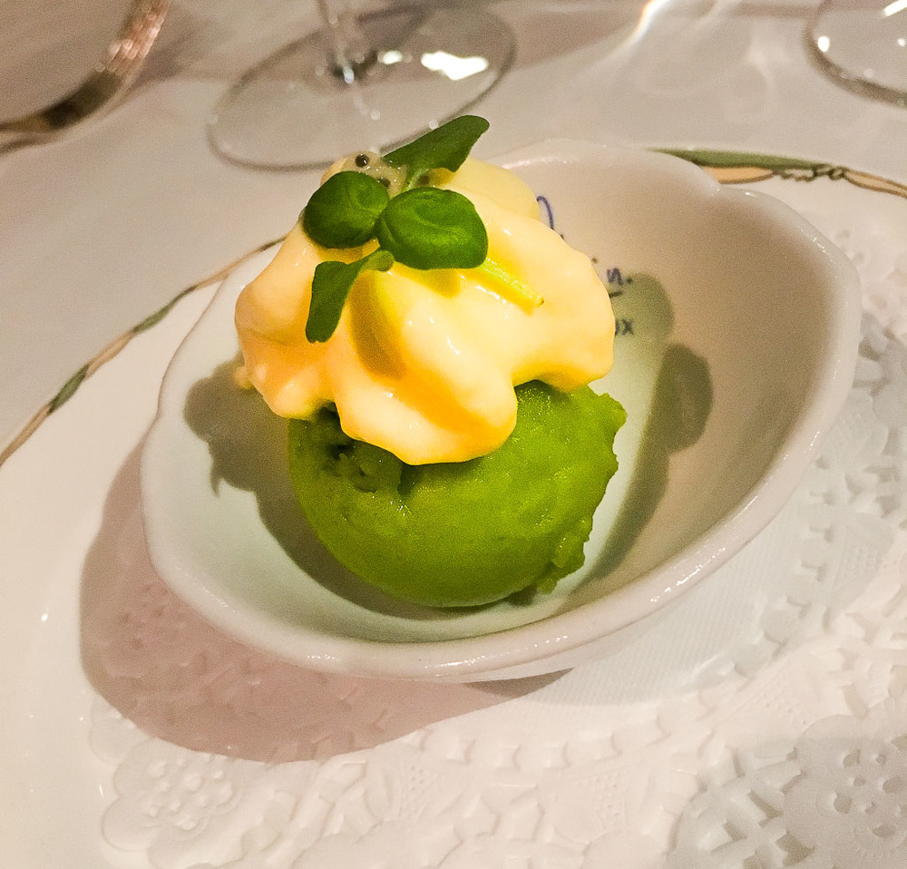 Course 6: Basil + Passion Fruit Sorbet, 8/10