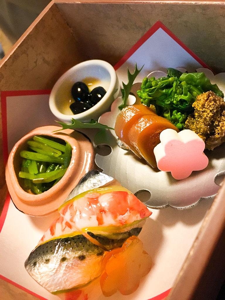 First Bites: Sushi + Greens + Roe + Black Beans, 9/10
