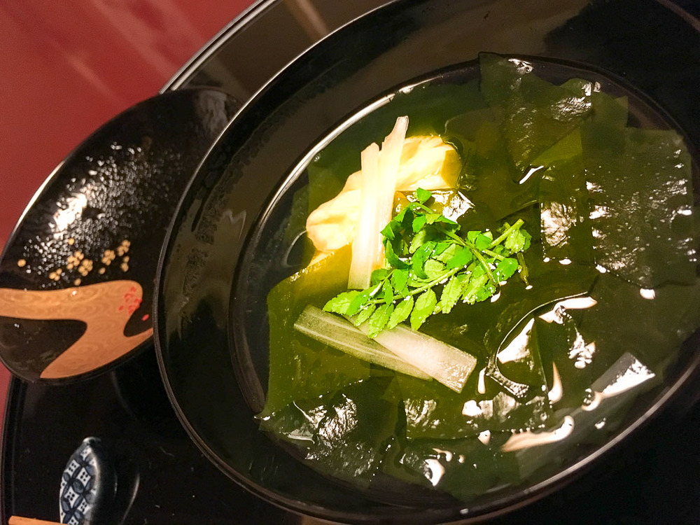 Course 4: Clam + Bamboo + Seaweed Soup, 7/10