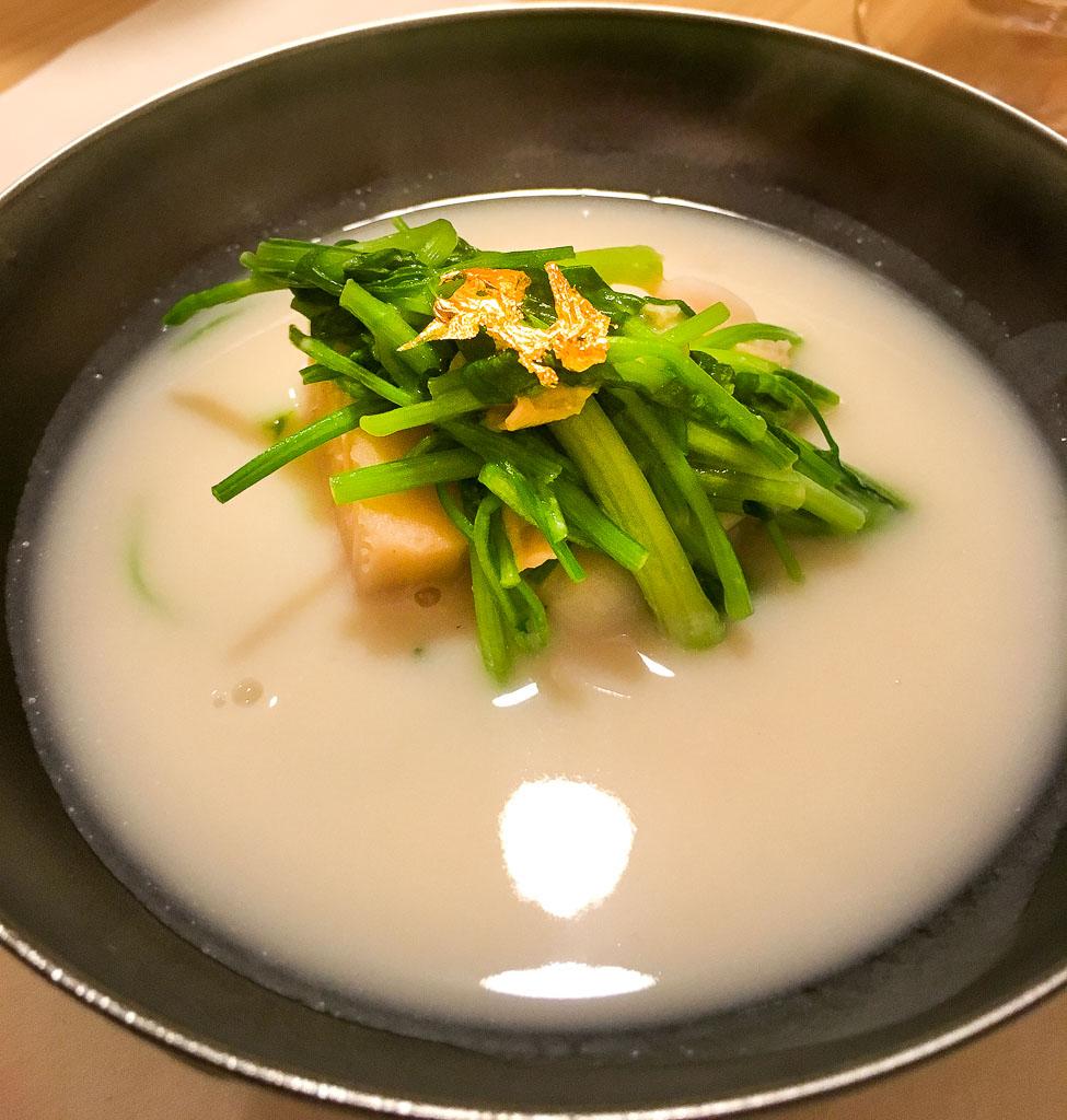 Course 9: Sake Potage + Clam, 8/10
