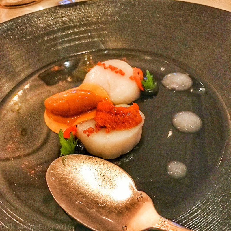 Course 1: Marinated Scallops + Lychee + Sea Urchin