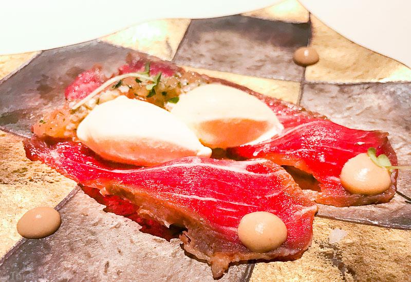 Course 3: Iberian Presa + Foie Gras Curd + Oyster + Mustard Ice Cream, 6/10