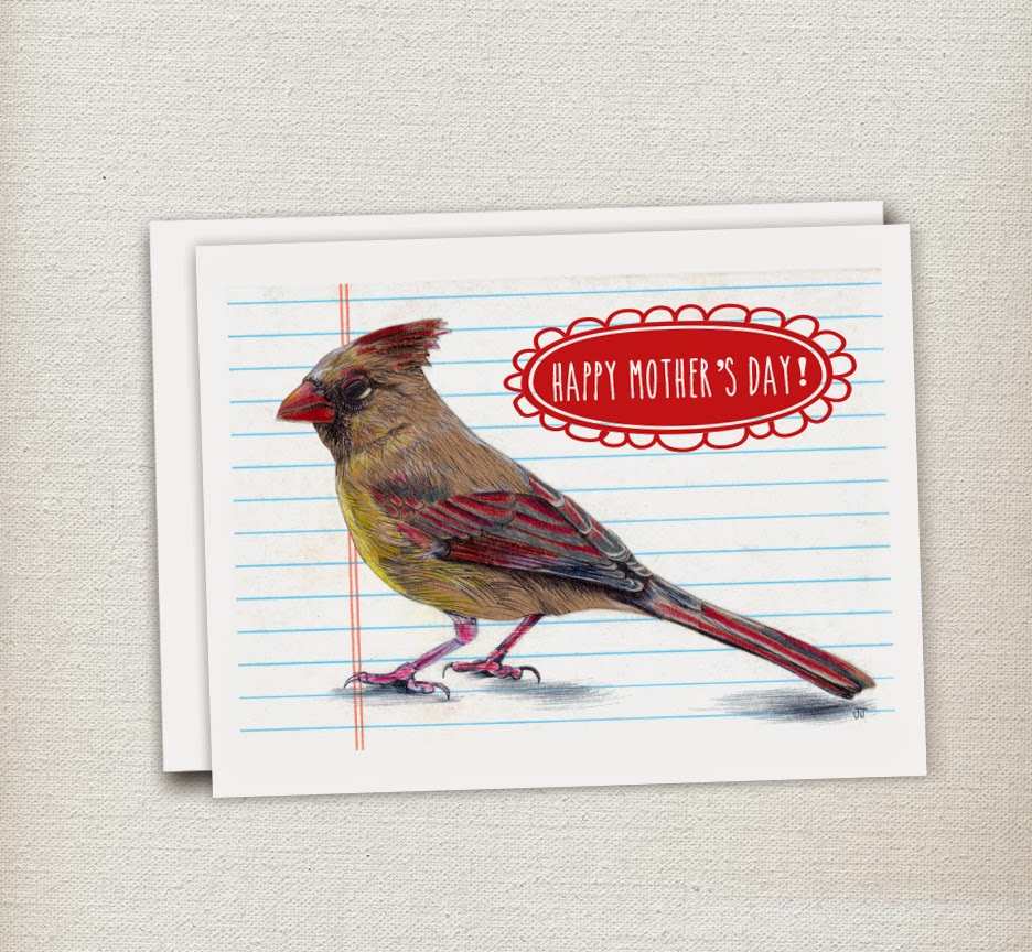 Illustrated Mother's Day Card with Female Cardinal