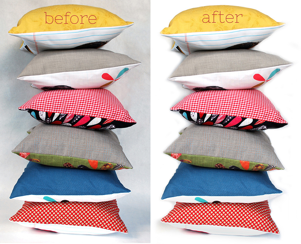 Pillow product photos before and after editing