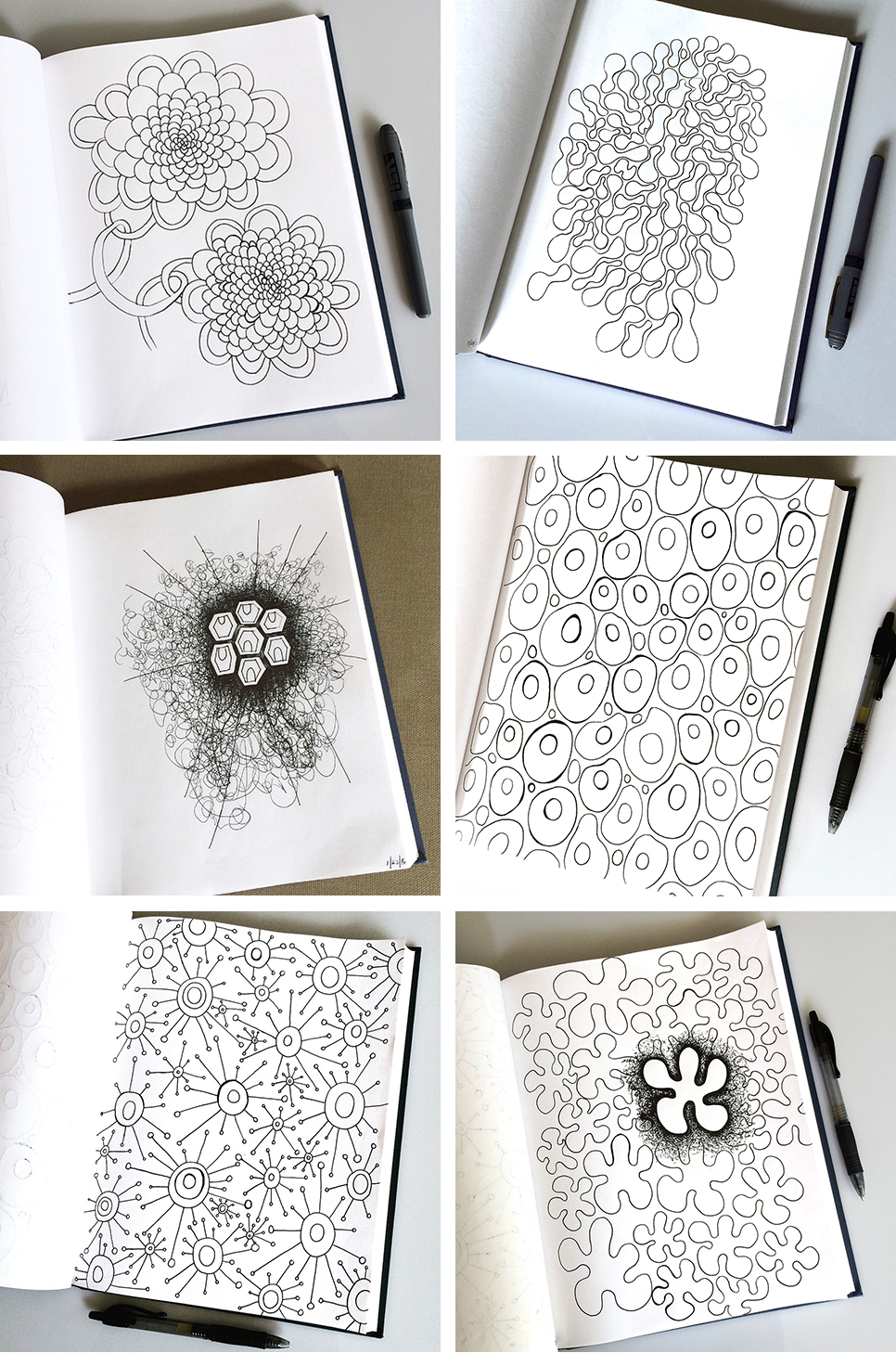 Sketchbook Pattern Drawings: Day 1-6