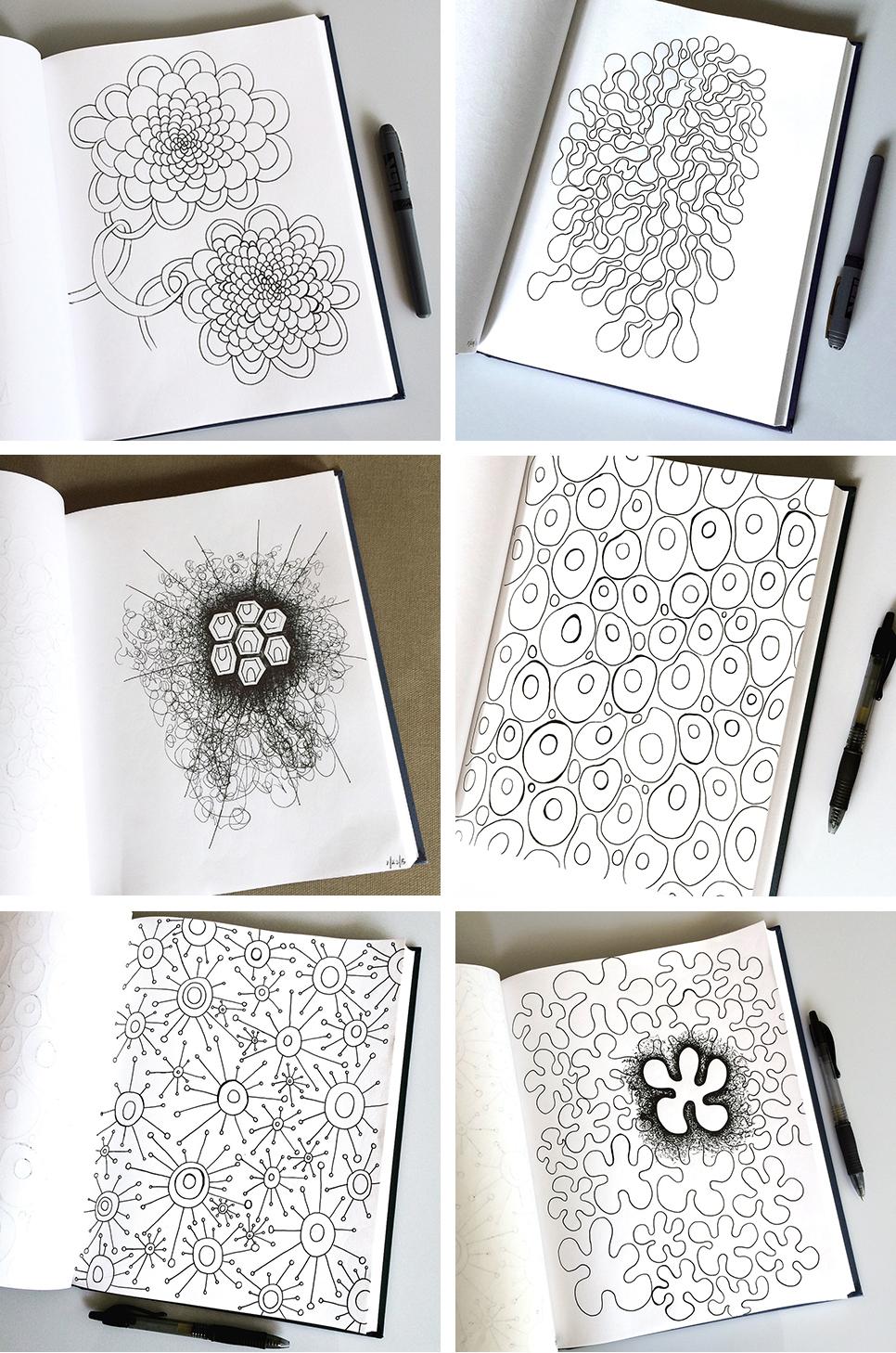 Sketchbook Pattern Drawings: Day 1-6