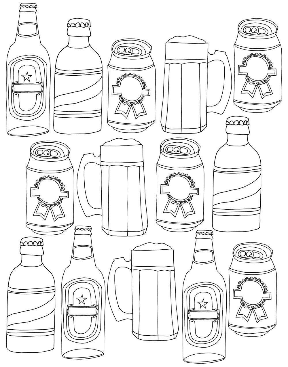 Beer drawings from my sketchbook, that I scanned and turned into vectors.