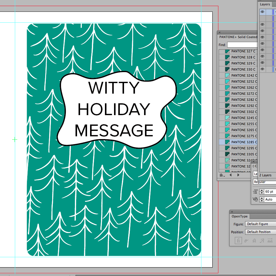 New card in process. I started with a more minty green and white trees.